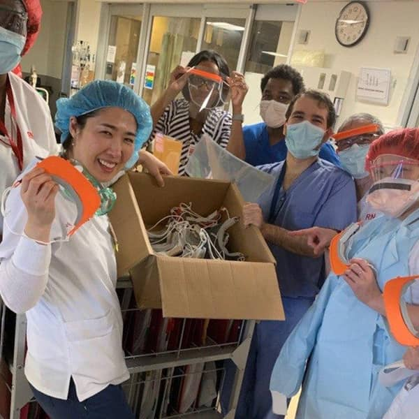 Health care workers in New York City with PPE by Tangible Creative and Covid Maker Response.
