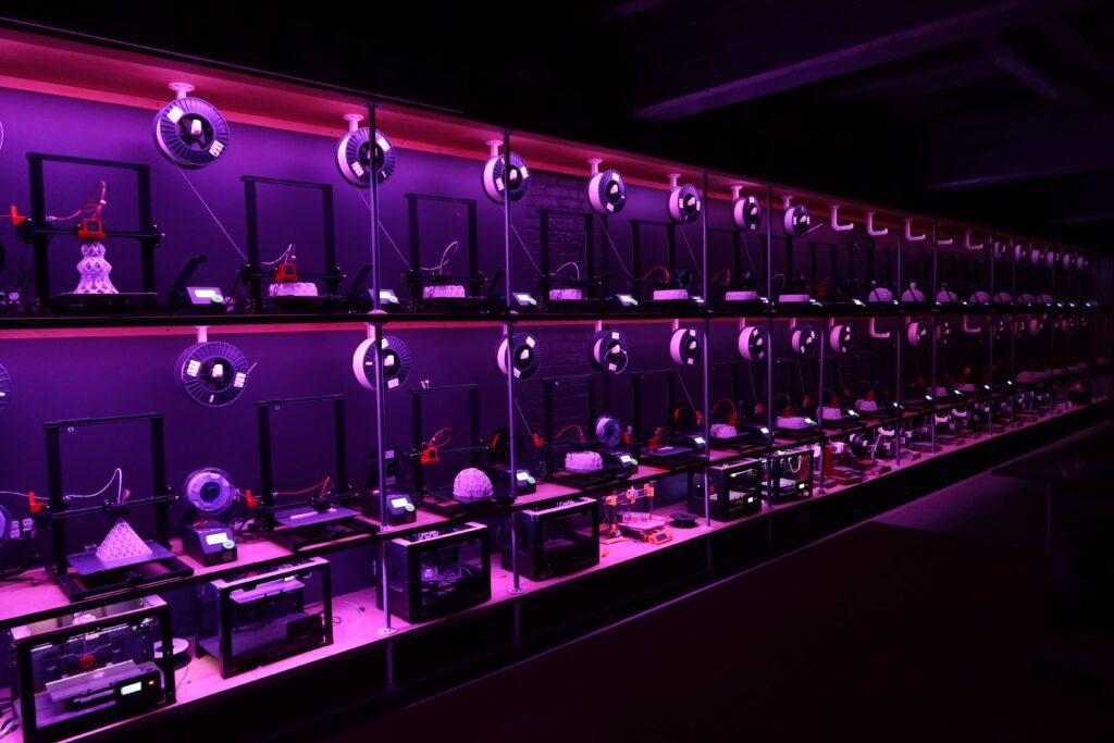 FDM 3D printers, Printer Wall, Print farm,